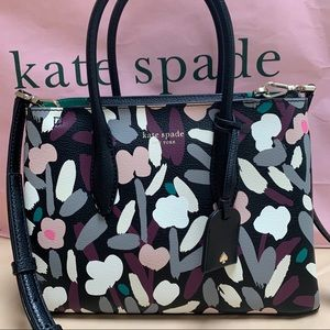 Kate Spade Eva Fete Floral top zip Satchel Black